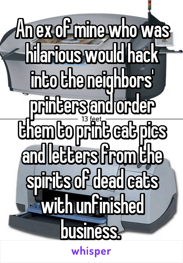 An ex of mine who was hilarious would hack into the neighbors' printers and order them to print cat pics and letters from the spirits of dead cats with unfinished business.