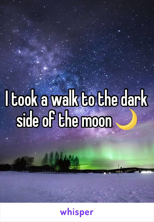 I took a walk to the dark side of the moon 🌙