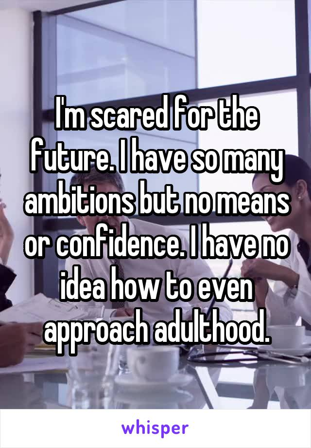 I'm scared for the future. I have so many ambitions but no means or confidence. I have no idea how to even approach adulthood.