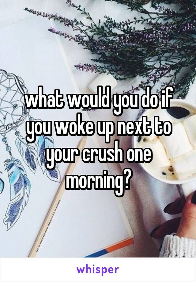 what would you do if you woke up next to your crush one morning?
