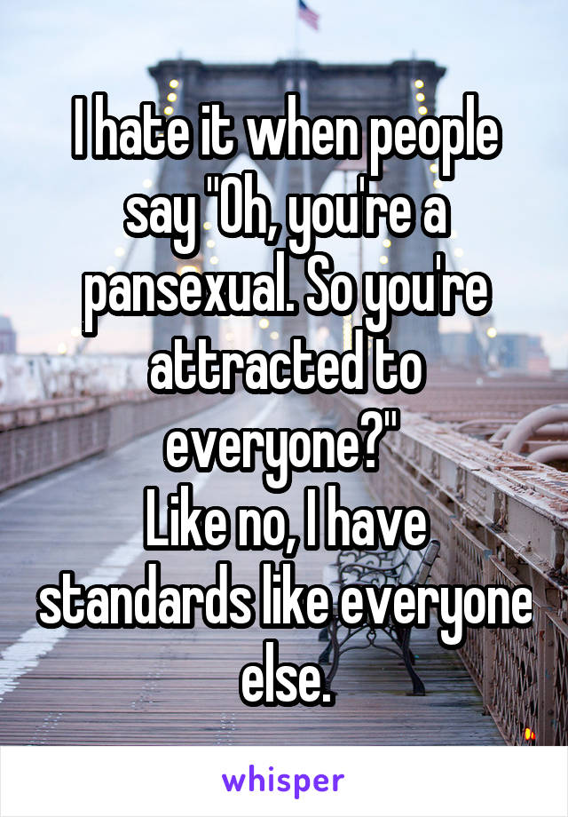 """I hate it when people say """"Oh, you're a pansexual. So you're attracted to everyone?""""  Like no, I have standards like everyone else."""