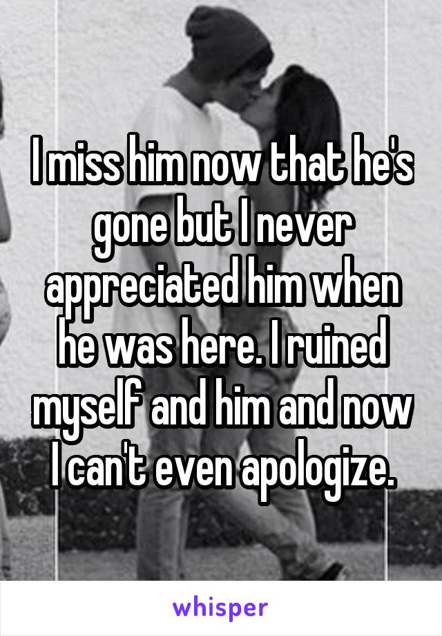 I miss him now that he's gone but I never appreciated him when he was here. I ruined myself and him and now I can't even apologize.