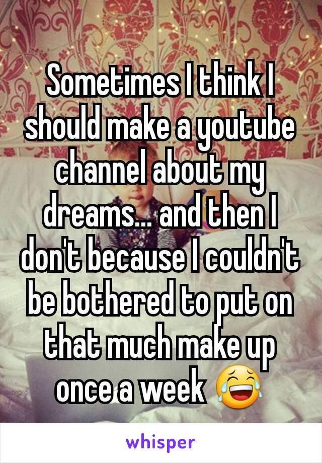 Sometimes I think I should make a youtube channel about my dreams... and then I don't because I couldn't be bothered to put on that much make up once a week 😂
