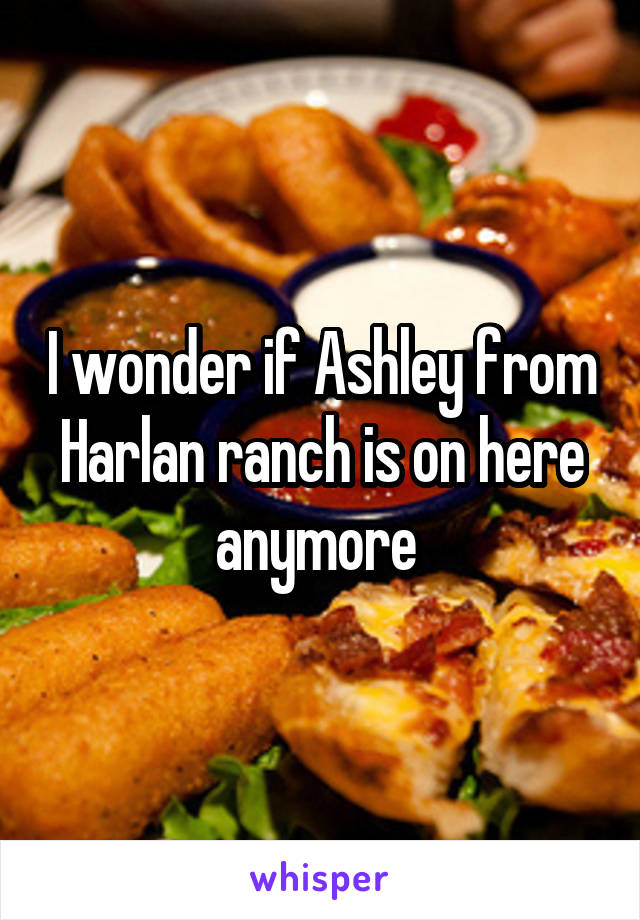 I wonder if Ashley from Harlan ranch is on here anymore