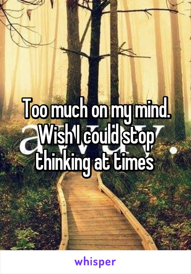 Too much on my mind. Wish I could stop thinking at times