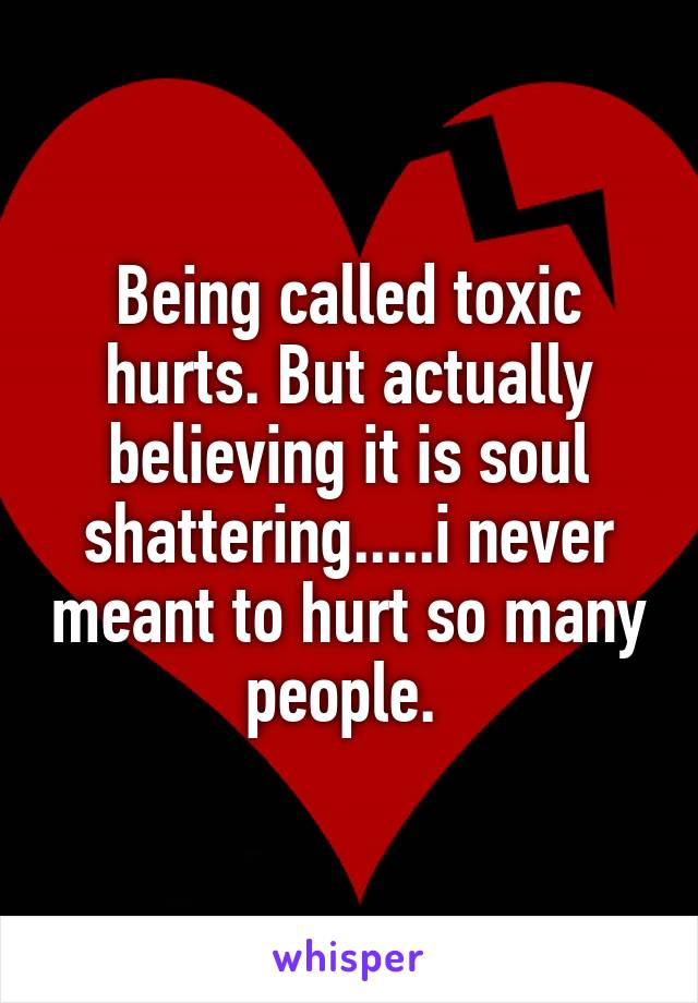 Being called toxic hurts. But actually believing it is soul shattering.....i never meant to hurt so many people.