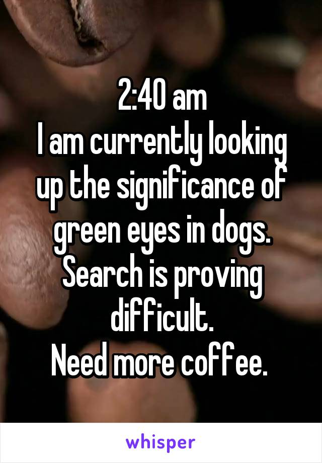 2:40 am I am currently looking up the significance of green eyes in dogs. Search is proving difficult. Need more coffee.