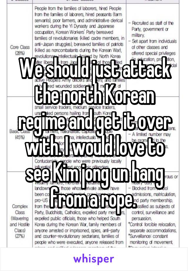 We should just attack the north Korean regime and get it over with. I would love to see Kim jong un hang from a rope.