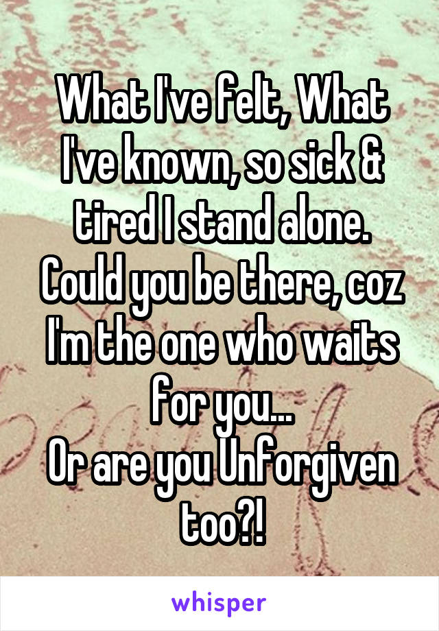 What I've felt, What I've known, so sick & tired I stand alone. Could you be there, coz I'm the one who waits for you... Or are you Unforgiven too?!