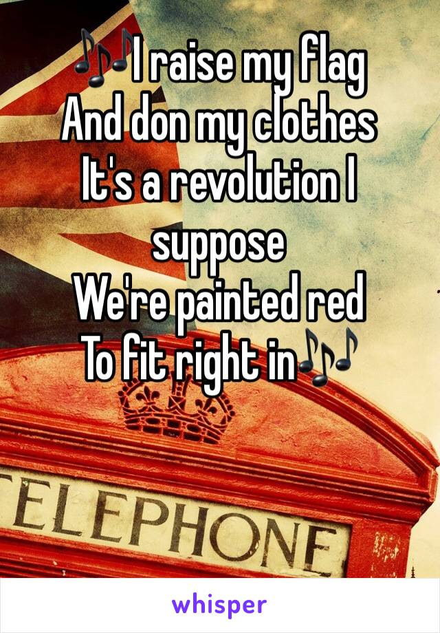 🎶I raise my flag  And don my clothes  It's a revolution I suppose  We're painted red To fit right in🎶