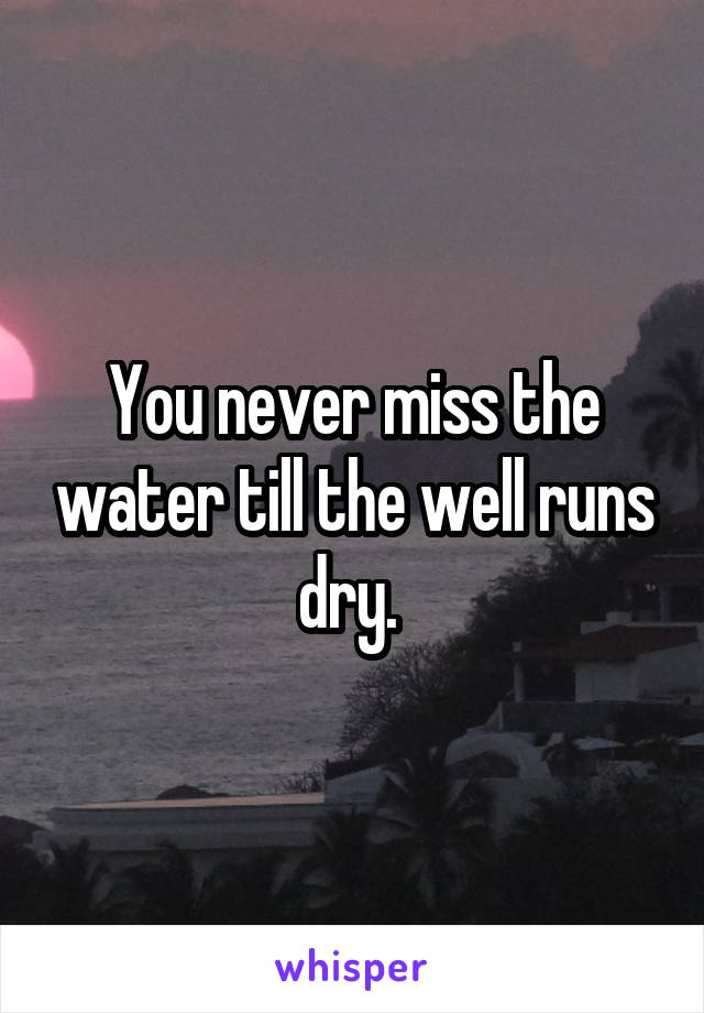 You never miss the water till the well runs dry.