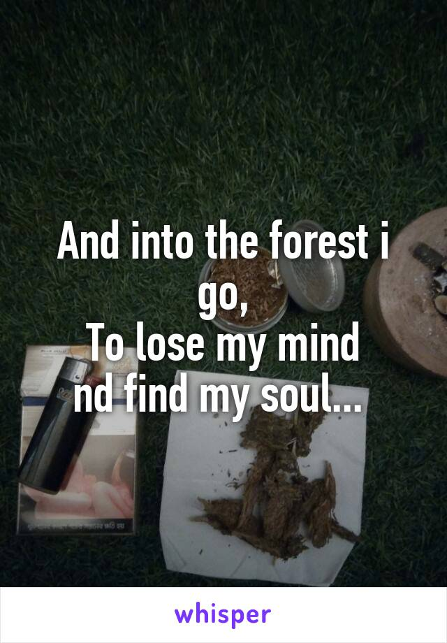 And into the forest i go, To lose my mind nd find my soul...