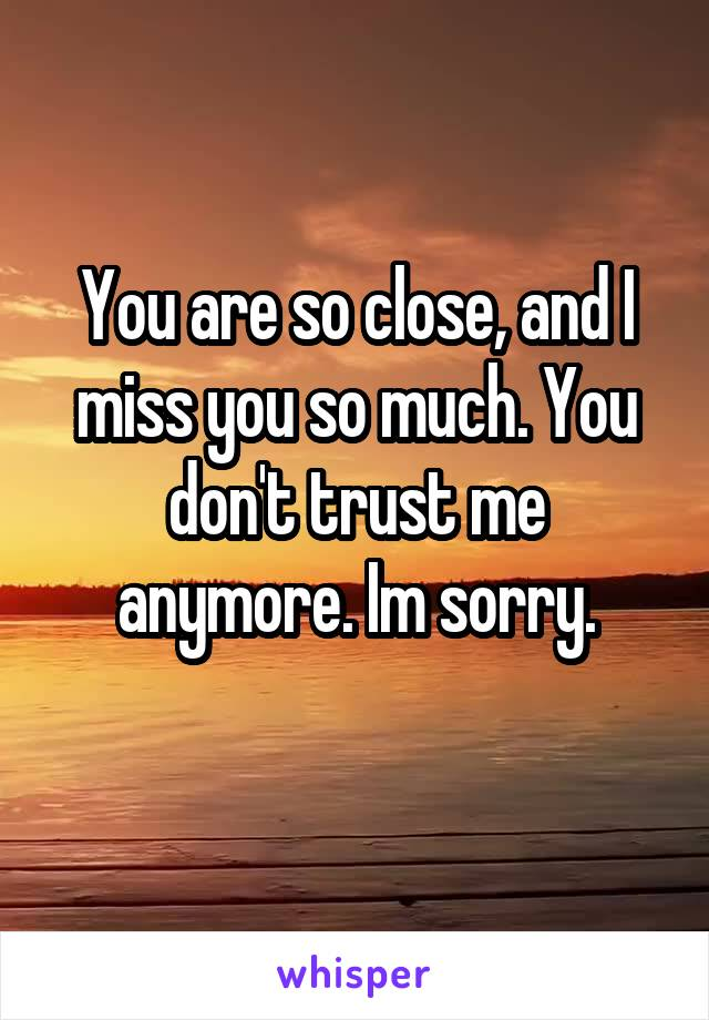 You are so close, and I miss you so much. You don't trust me anymore. Im sorry.