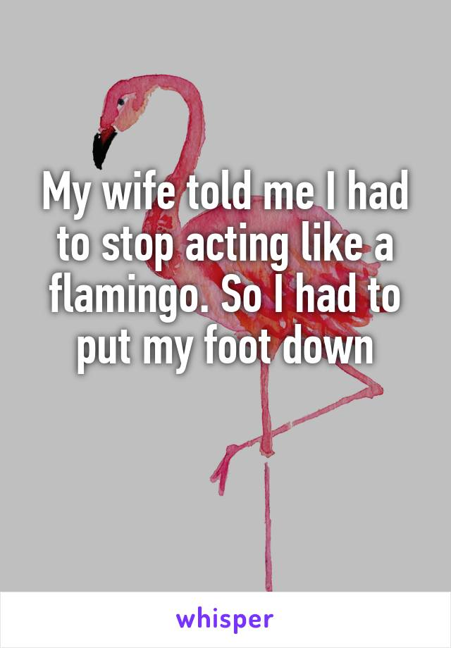 My wife told me I had to stop acting like a flamingo. So I had to put my foot down