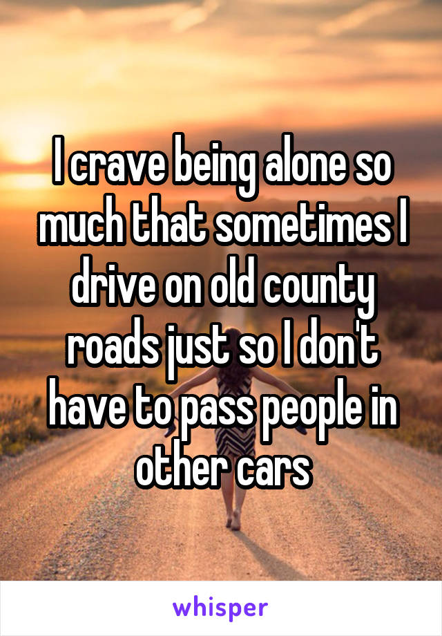 I crave being alone so much that sometimes I drive on old county roads just so I don't have to pass people in other cars