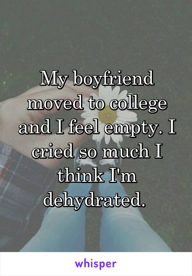 My boyfriend moved to college and I feel empty. I cried so much I think I'm dehydrated.