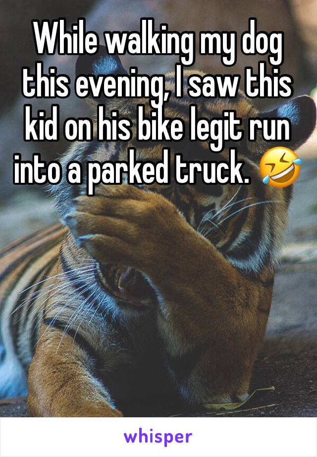 While walking my dog this evening, I saw this kid on his bike legit run into a parked truck. 🤣