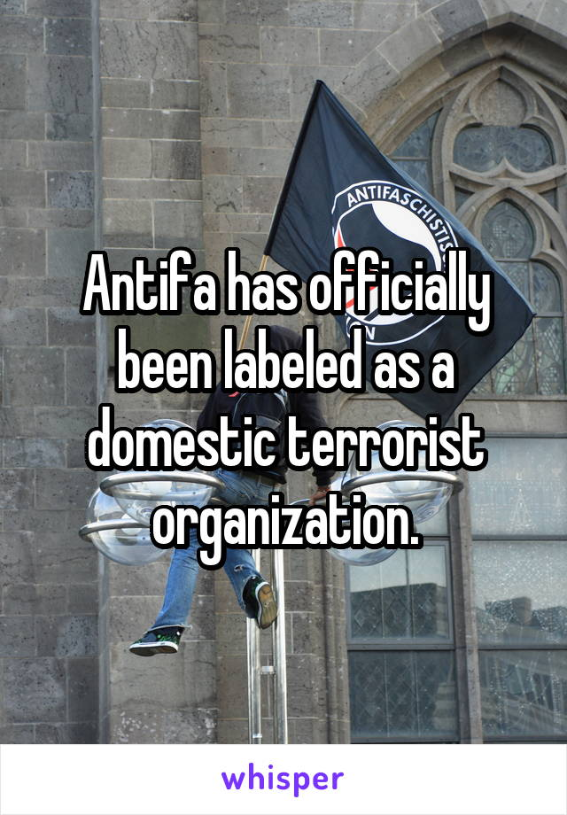Antifa has officially been labeled as a domestic terrorist organization.