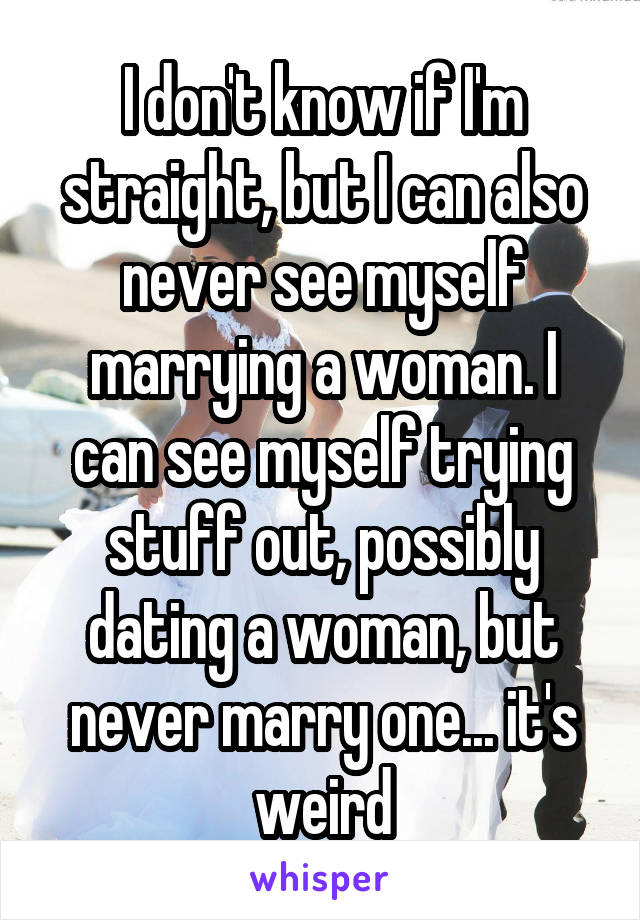 I don't know if I'm straight, but I can also never see myself marrying a woman. I can see myself trying stuff out, possibly dating a woman, but never marry one... it's weird