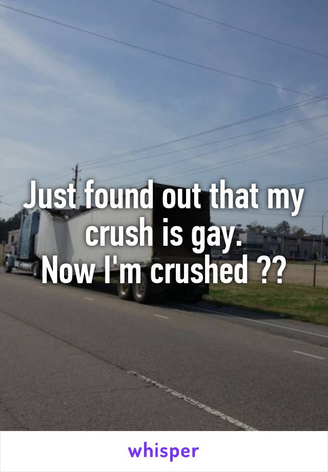 Just found out that my crush is gay. Now I'm crushed 😭😭