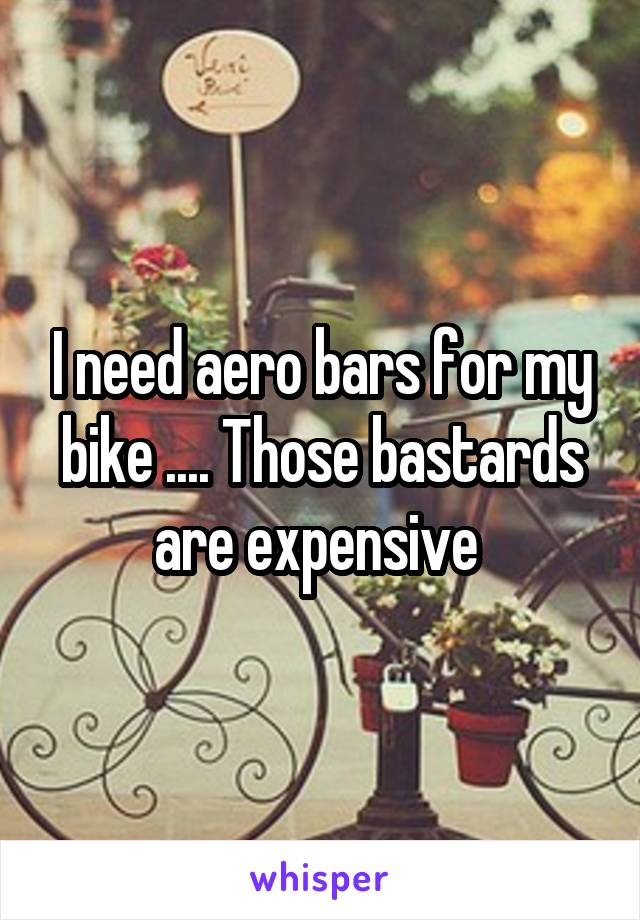 I need aero bars for my bike .... Those bastards are expensive