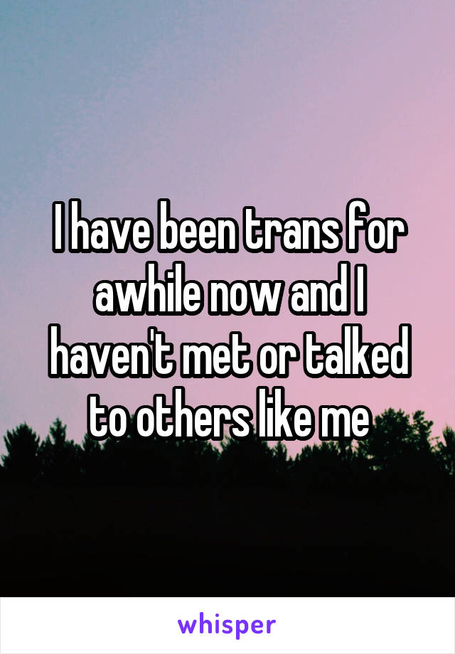 I have been trans for awhile now and I haven't met or talked to others like me