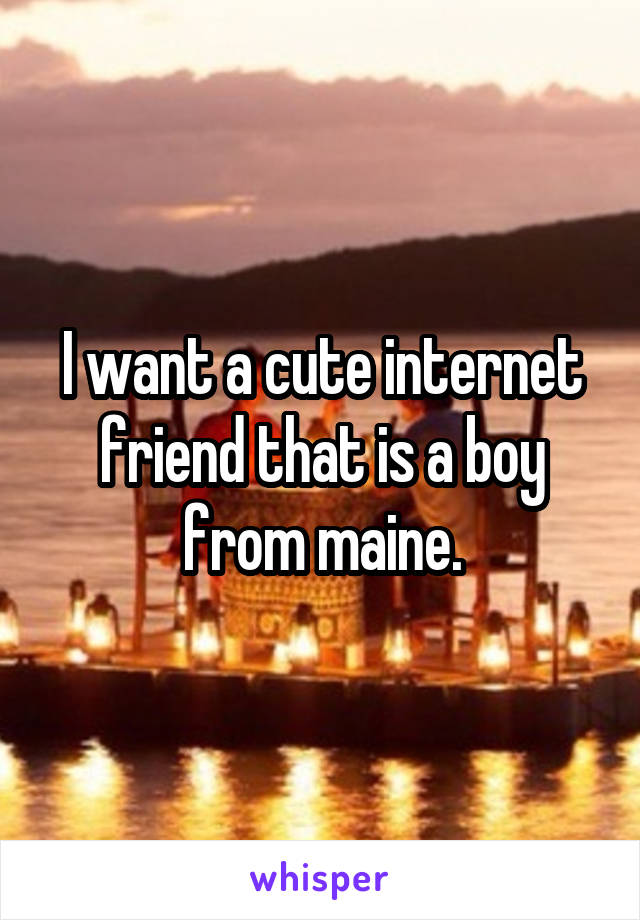 I want a cute internet friend that is a boy from maine.