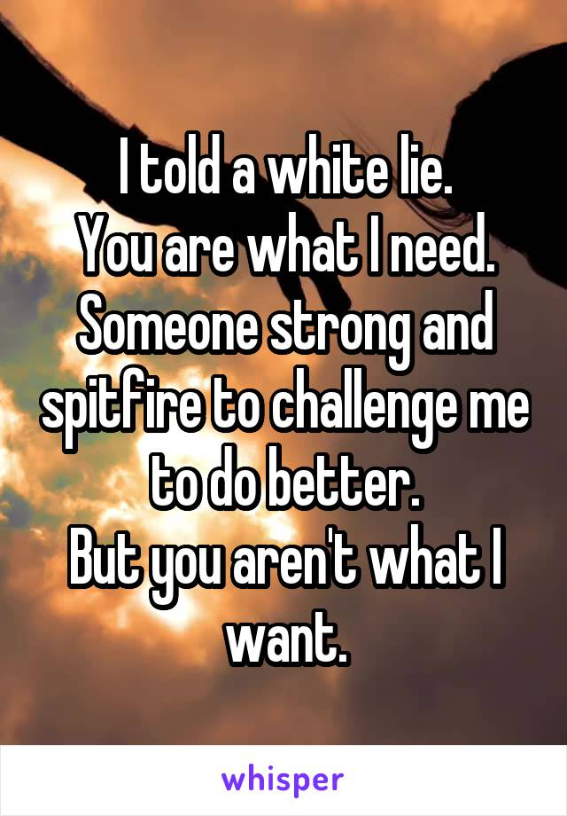 I told a white lie. You are what I need. Someone strong and spitfire to challenge me to do better. But you aren't what I want.