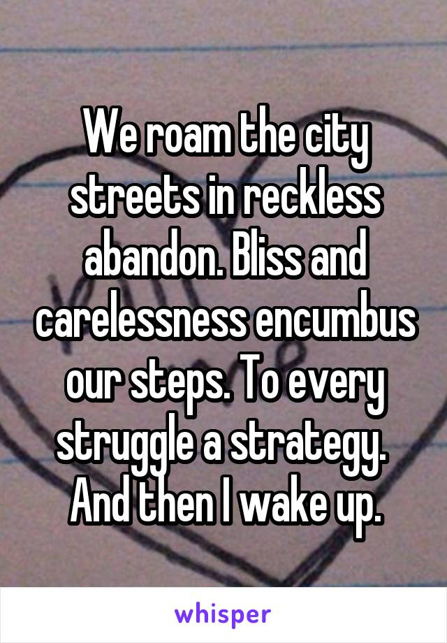 We roam the city streets in reckless abandon. Bliss and carelessness encumbus our steps. To every struggle a strategy.  And then I wake up.