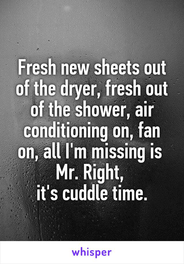 Fresh new sheets out of the dryer, fresh out of the shower, air conditioning on, fan on, all I'm missing is  Mr. Right,  it's cuddle time.