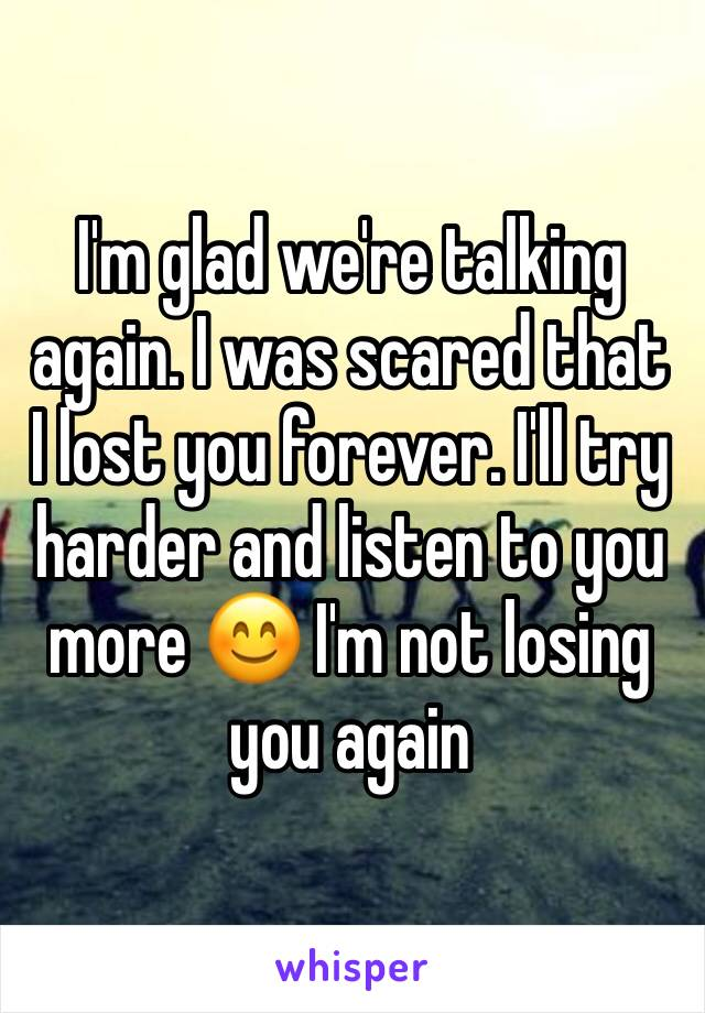 I'm glad we're talking again. I was scared that I lost you forever. I'll try harder and listen to you more 😊 I'm not losing you again