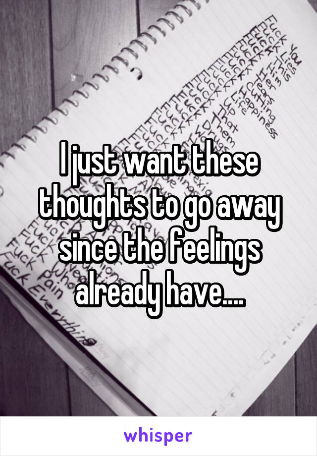 I just want these thoughts to go away since the feelings already have....