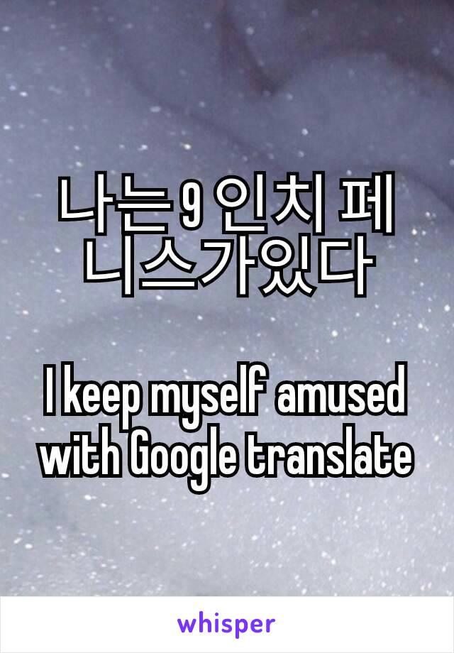 나는 9 인치 페니스가있다  I keep myself amused with Google translate