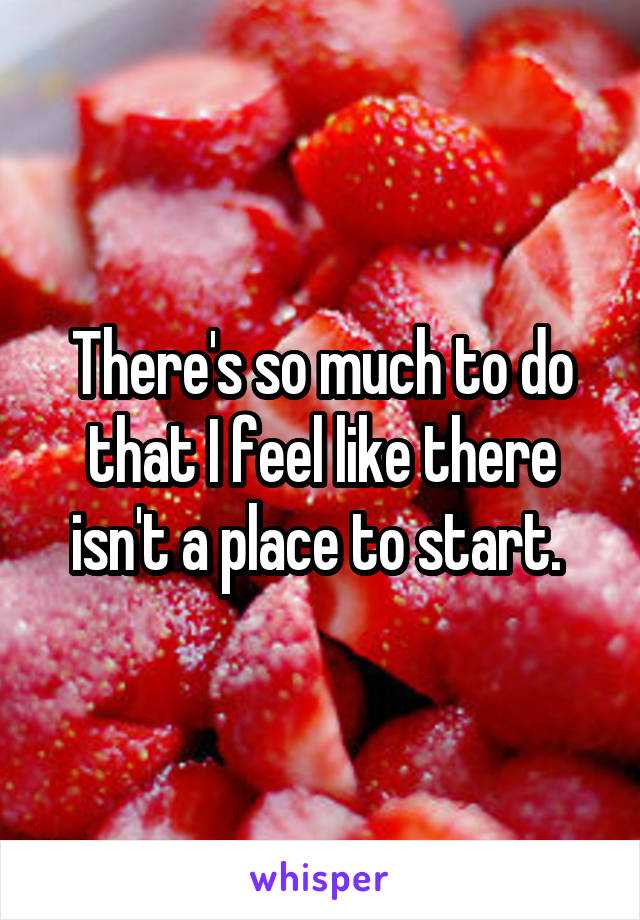 There's so much to do that I feel like there isn't a place to start.