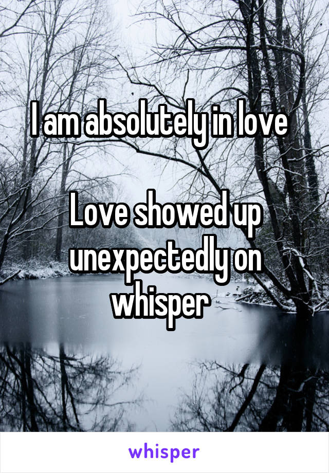 I am absolutely in love    Love showed up unexpectedly on whisper