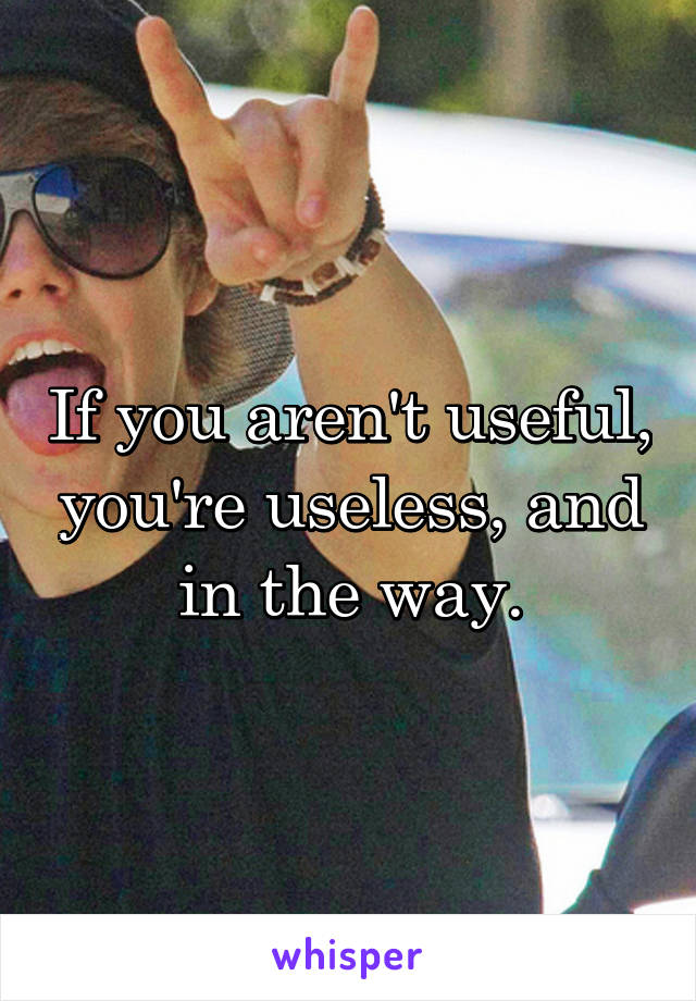 If you aren't useful, you're useless, and in the way.