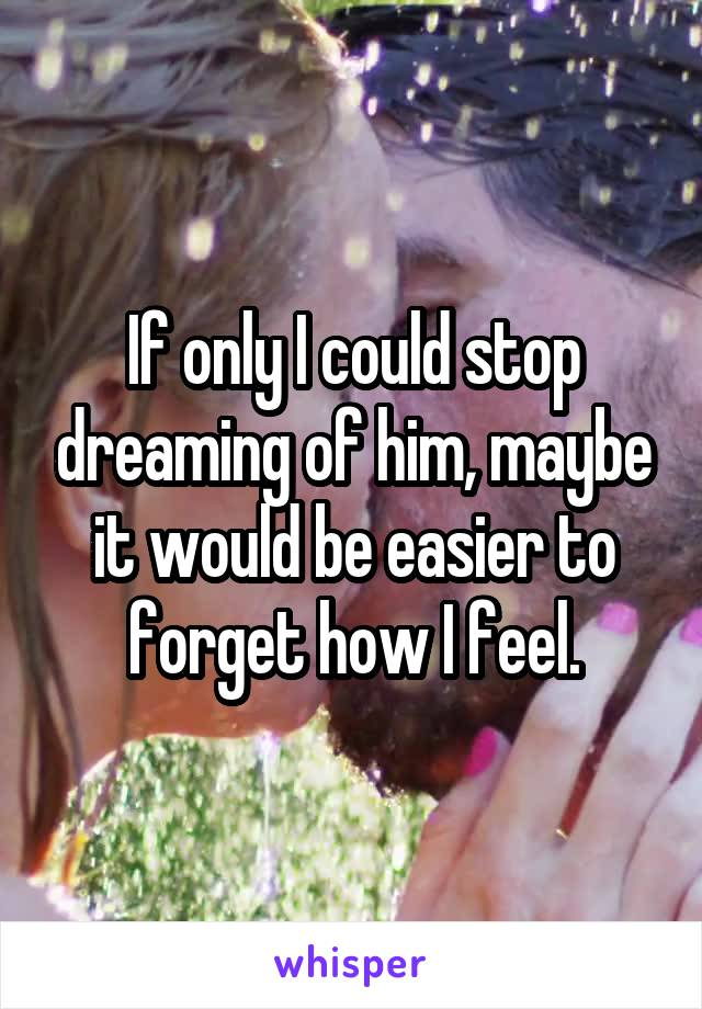If only I could stop dreaming of him, maybe it would be easier to forget how I feel.