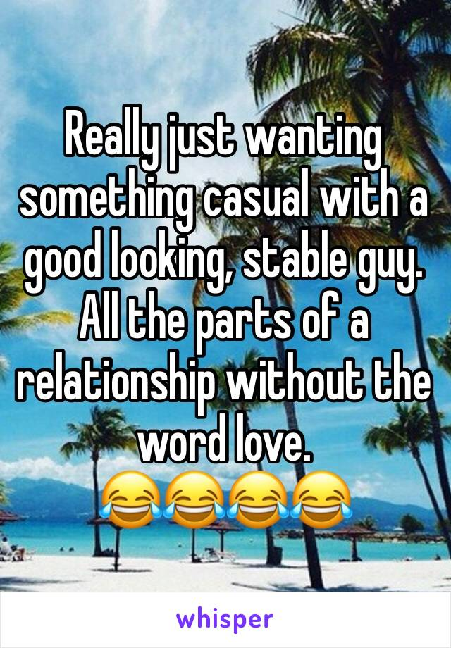 Really just wanting something casual with a good looking, stable guy. All the parts of a relationship without the word love.  😂😂😂😂