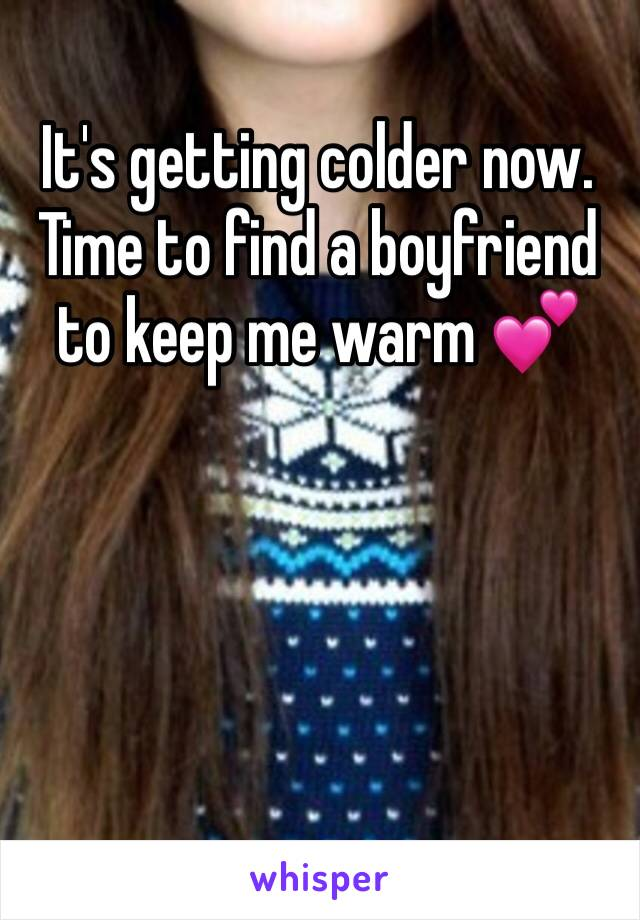It's getting colder now. Time to find a boyfriend to keep me warm 💕