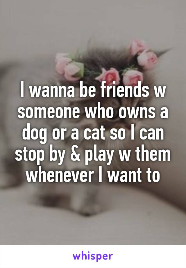 I wanna be friends w someone who owns a dog or a cat so I can stop by & play w them whenever I want to