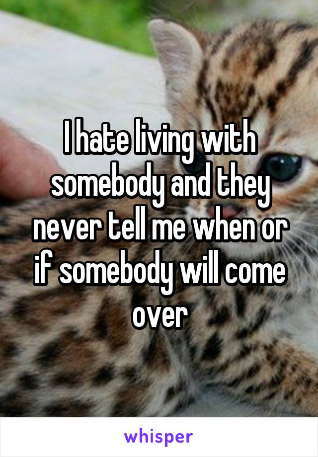 I hate living with somebody and they never tell me when or if somebody will come over