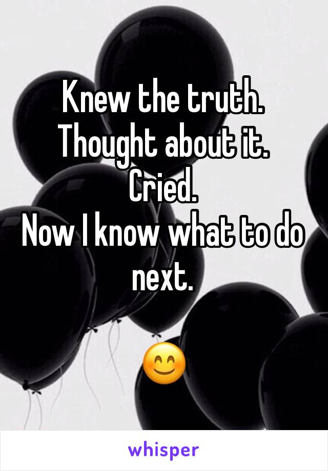 Knew the truth. Thought about it. Cried. Now I know what to do next.  😊