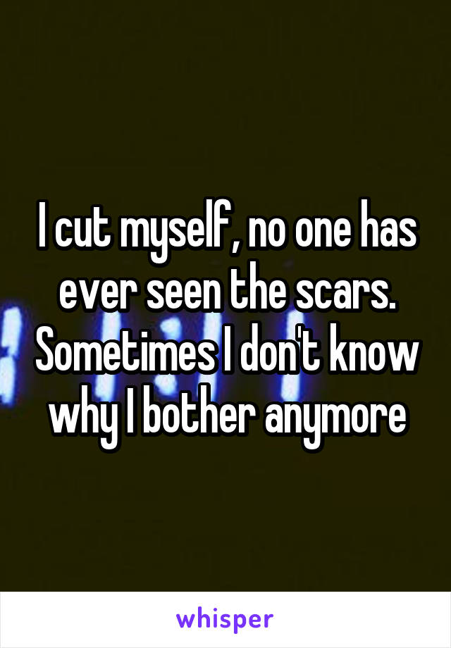 I cut myself, no one has ever seen the scars. Sometimes I don't know why I bother anymore