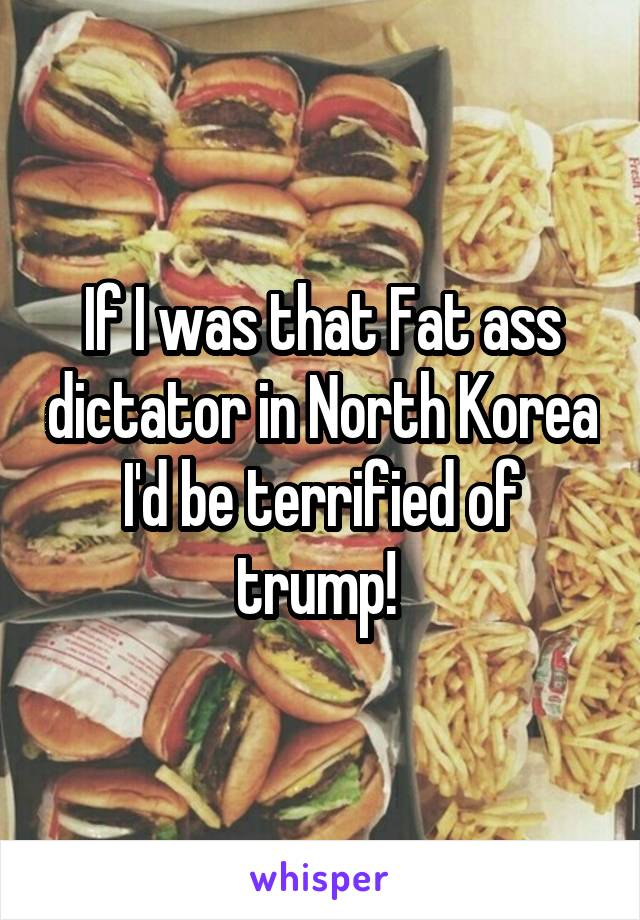 If I was that Fat ass dictator in North Korea I'd be terrified of trump!