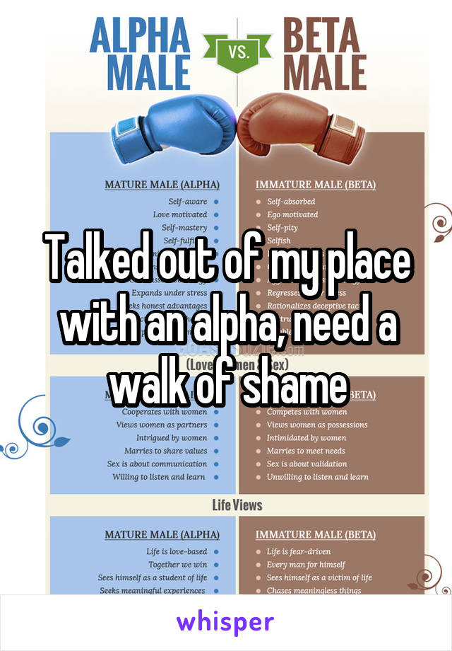 Talked out of my place with an alpha, need a walk of shame