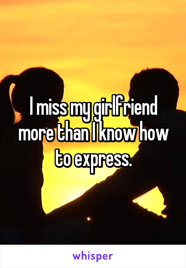 I miss my girlfriend more than I know how to express.