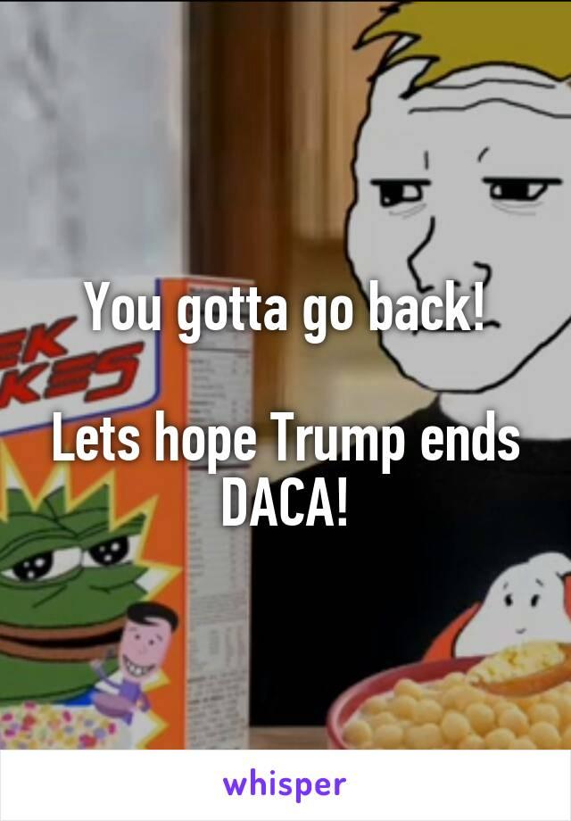 You gotta go back!  Lets hope Trump ends DACA!