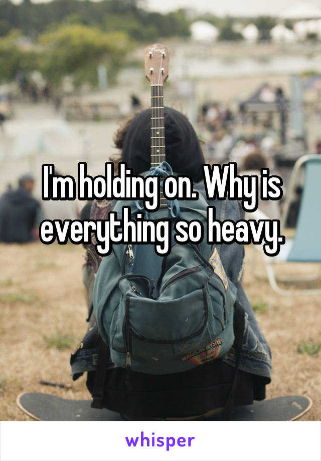I'm holding on. Why is everything so heavy.