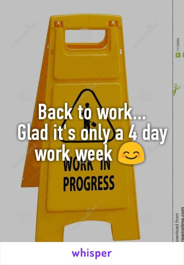 Back to work... Glad it's only a 4 day work week 😊