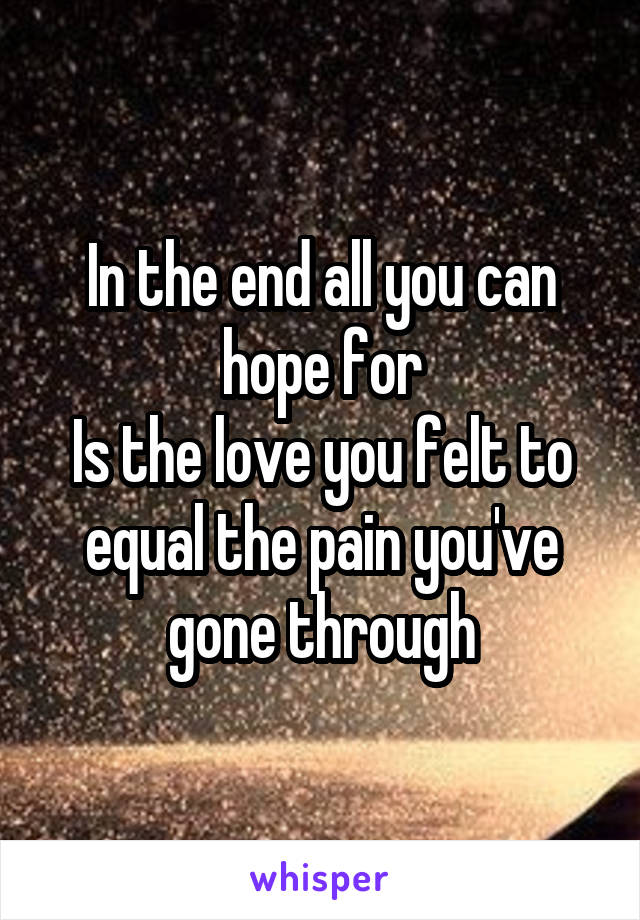 In the end all you can hope for Is the love you felt to equal the pain you've gone through
